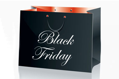 Social Media using black friday shopping bag
